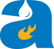 Fire & Water. The letter 'a' has a fire and water drip icon in it Stock Photo