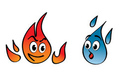 Fire and water. Cartoon  with a face Royalty Free Stock Image