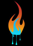 Fire and water. Abstract vector illustration of a fire with flowing water on bottom Royalty Free Stock Photo