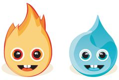 Fire and Water. Illustration of two icons, fire and water Stock Photography