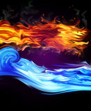 Fire and Water. On a black background Stock Photo