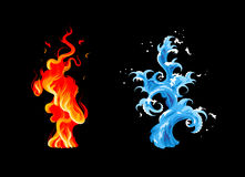 Fire and water. Two elements: burning flame and sea wave Royalty Free Stock Photos