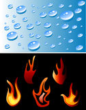 Fire and water. The Set of color fire and water Royalty Free Stock Images