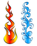 Fire and water. Vector illustration of fire and water element Stock Photography