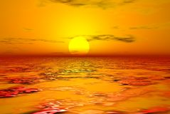Fire water. Yellow sun shining on fire waters Royalty Free Stock Image