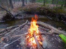 Fire Water. Camping in spring on the Drakes River Stock Photo