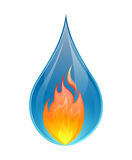 Fire and water concept - vector. Vector illustration of two elements, water and fire on a white background Stock Image