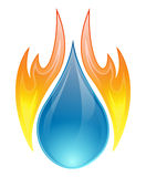 Fire and water concept - vector. Vector illustration of two elements, water and fire on a white background Stock Photos