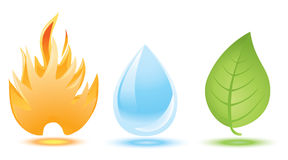 Fire, water drop and green leaf. Icons Stock Photo