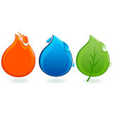 Fire, water drop and leaf icons. Vector illustration ecology and nature icons of a flame, a water drop and a leaf Stock Images