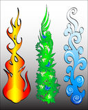Fire and water elements Stock Photo