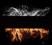 Fire and water elements on black background Stock Images