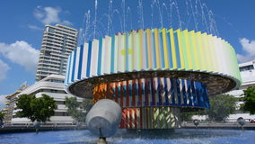 Fire and Water Fountain in Tel Aviv, Israel stock footage