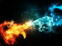 Fire and Water Goats Collide. Two horned sheeps made from fire and water are fighting each other Stock Image