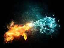 Fire and Water Goats Collide. Two horned sheeps made from fire and water are fighting each other Royalty Free Stock Images