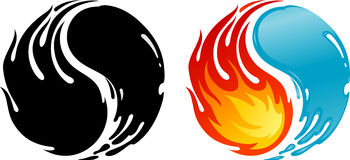 Fire and Water. Isolated illustration of yin-yang symbol on white background Stock Photography