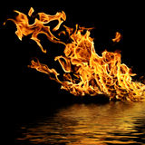 Fire on the water. Royalty Free Stock Images