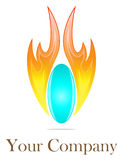 Fire and water logo. Detailed fired blue ball logo illustration Royalty Free Stock Photo
