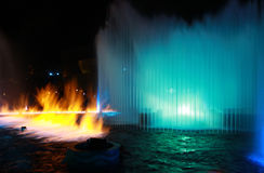 Fire & Water Show. Colorful Music Fountain with Fire Effect in Hong Kong Royalty Free Stock Photography