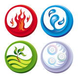 Fire, water, soil and air. Illustration of icons representing four elements Stock Image