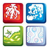 Fire, water, soil and air. Square vector icons representing fire, water, soil and air Royalty Free Stock Photography