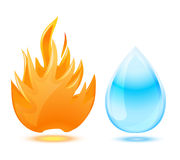 Fire and water symbol Royalty Free Stock Images
