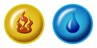 Fire and water. Symbols color illustration Stock Images