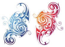 Fire and water themed swirls Royalty Free Stock Photo