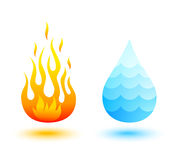 Fire and water. Vector icons of fire and water Stock Photography