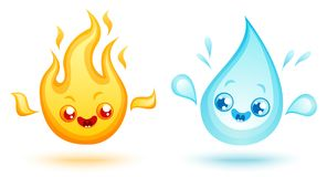 Fire and water. Vector set icons two elements in kawaii style. Nature elements in manga style. Fire and water Royalty Free Stock Image