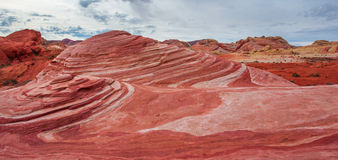Fire Wave. Panoramic Perspective Of Red And White Striped Sandstone Known As Fire Wave In Valley Of Fire State Park, Nevada stock images