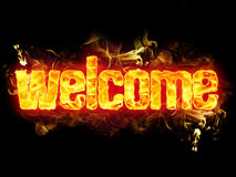 Fire Text Welcome. Fire welcome word text with burning flames Royalty Free Stock Image