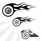 Fire Wheel. Set of vector fire wheels fot use as tattoo Royalty Free Stock Image