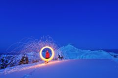 Fire Wheel And Mt. Baker Royalty Free Stock Photos