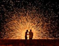 Fire wheel in Hanuka. A firework wheel in the night Royalty Free Stock Image