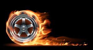 Fire wheel. In vector on black background Royalty Free Stock Photo