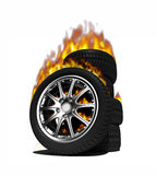 Fire wheels. With steel rims over the white background(3D Royalty Free Stock Image