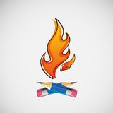 The fire, which burn pencils. Vector design.  Vector Illustration