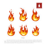 Fire on a white background. Collection of flames in a flat style. Firefighters icon. Vector illustrationn Stock Photography