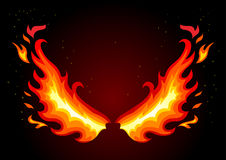 Fire wings on dark background. Flat vector illustration of fire wings on dark background Royalty Free Stock Images