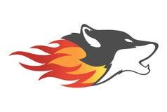Fire wolf logo. O vector concept Royalty Free Stock Photos