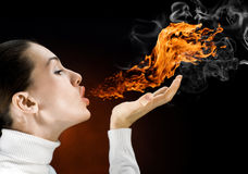 Fire woman Royalty Free Stock Photos