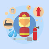 Fire Woman Firefighter Worker Icon. Flat Vector Illustration Stock Photography