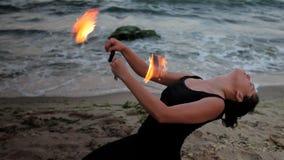 Fire woman performance stock video