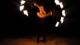 Fire woman performance stock video footage