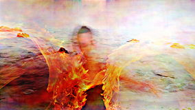 Fire woman performance stock footage
