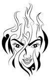 Fire woman tattoo. Illustration of a fire woman tattoo on her head isolated on white background Royalty Free Stock Images