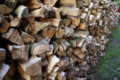 Fire wood. Detail of piled firewood trunks Stock Images