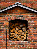Fire wood. Stacked in window stock images