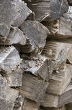 Fire wood. A close vertical image of cut, split, and aged fire wood Royalty Free Stock Image